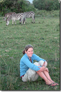 Caroline hangs out with zebras in Ngorongoro National Park, Tanzania